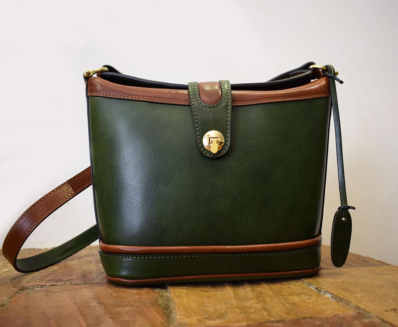 Leather purse - Aura - Loden Green Cognac