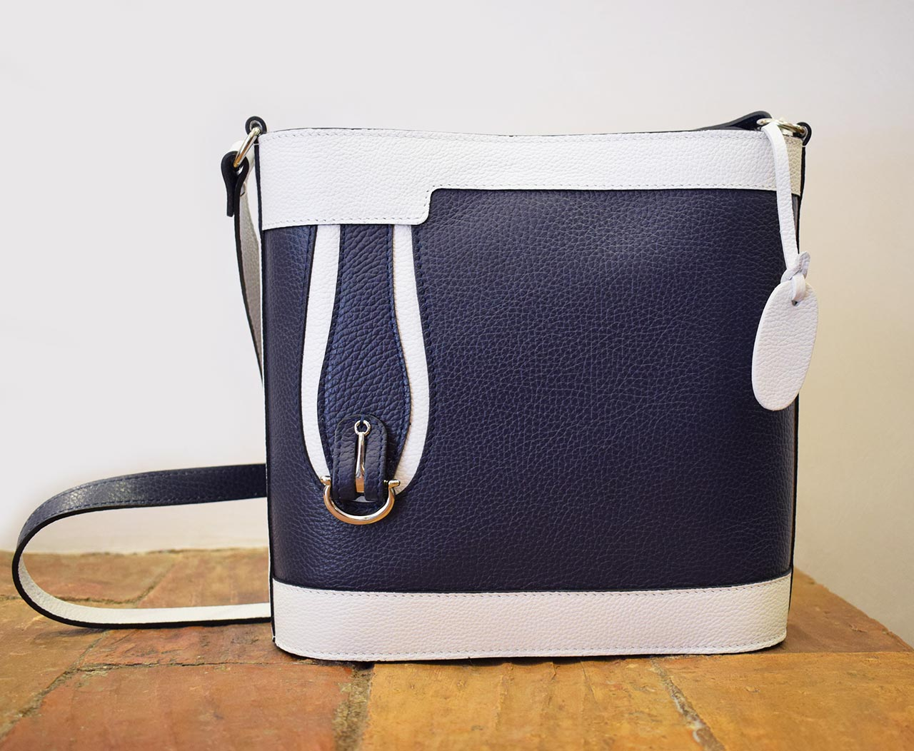 Leather purse - Aurora - Blue White
