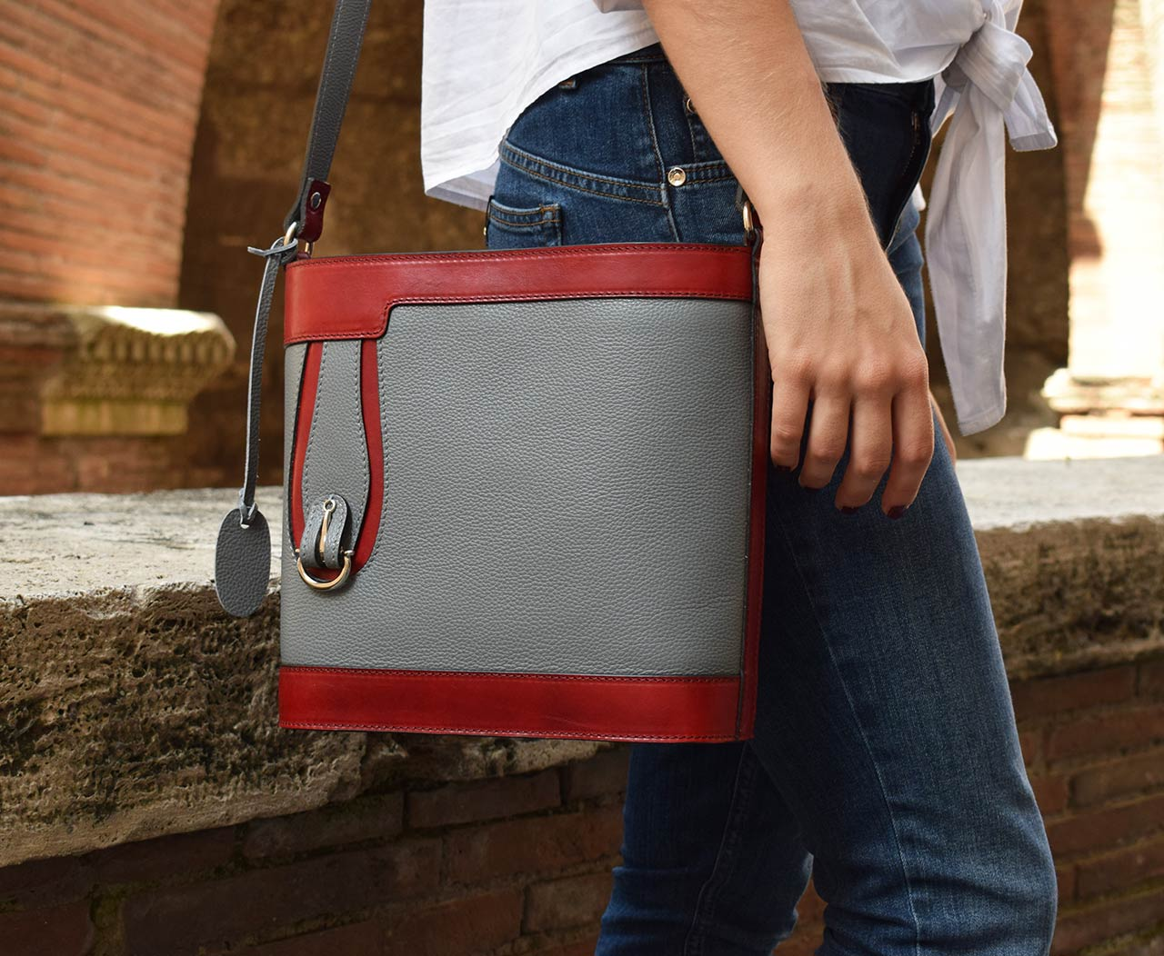 Leather purse - Aurora - Grey Red