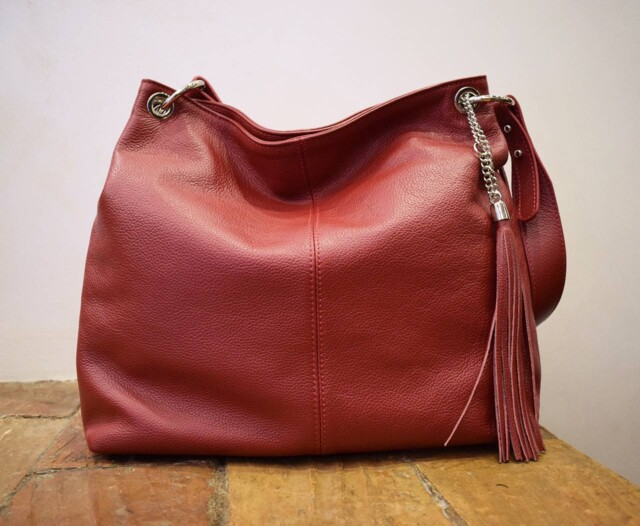 Leather Purse - Diana - Red