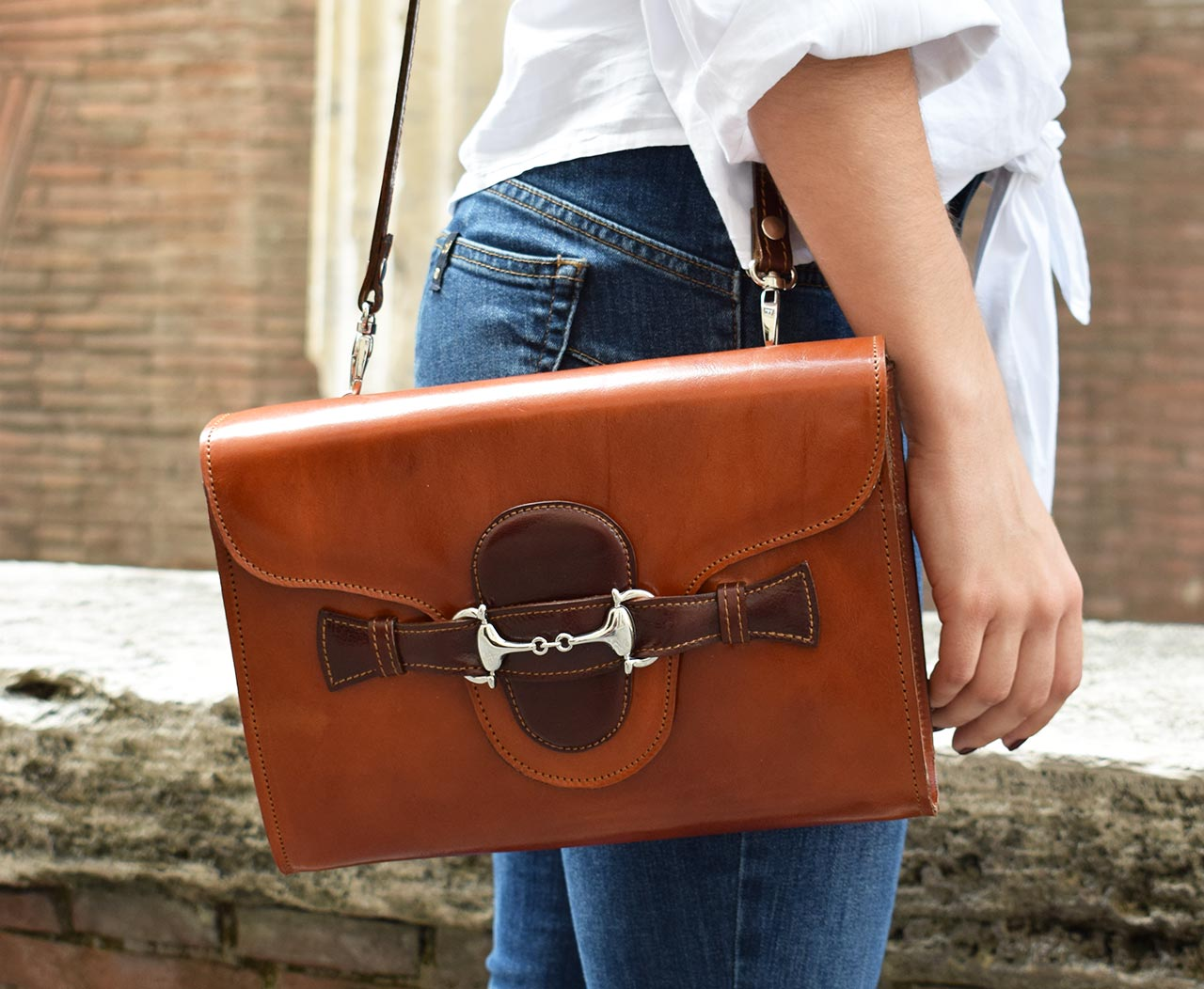 Leather Purse - Fama - Cognac Leather