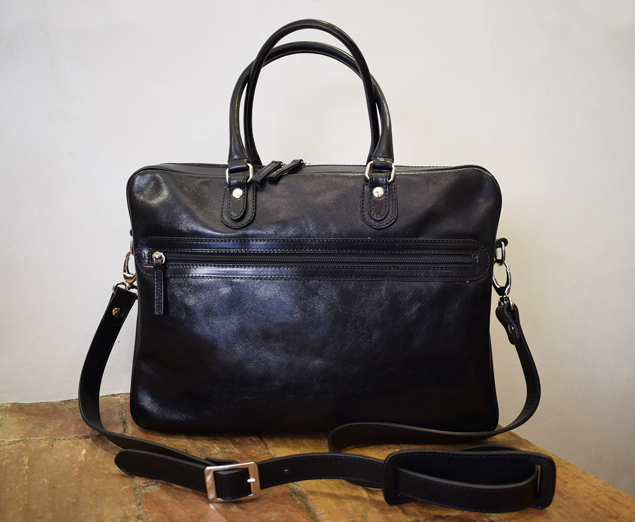 Handmade leather briefcase - Fides - Black