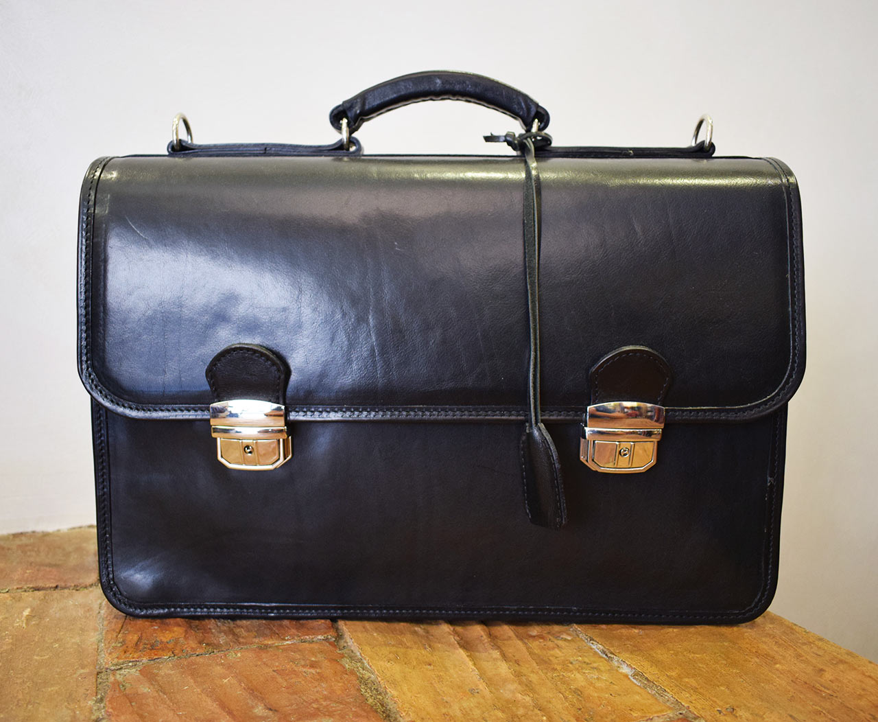 Leather Briefcase - Minerva - Black