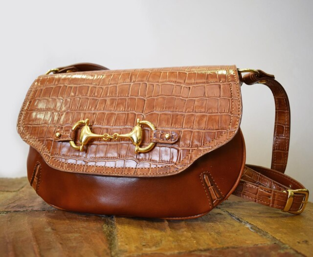 Leather Purse - Muse - Cognac Crocodile Effect