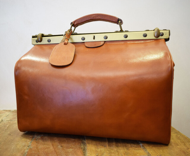 Leather Travel Bag - Polus - Cognac
