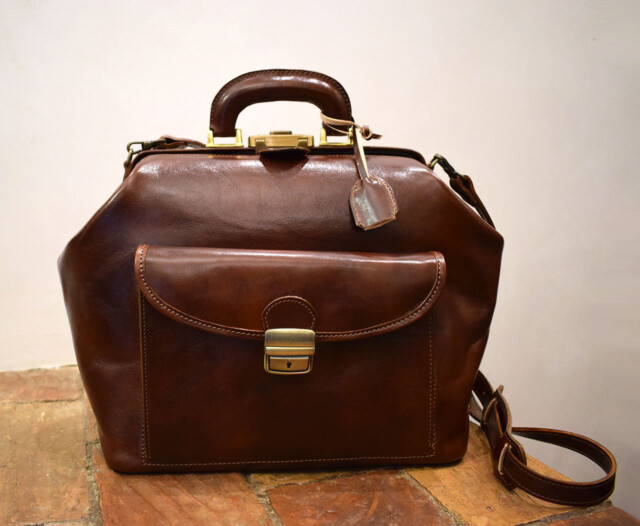 Italian leather handmade doctor bag - Mancini Leather Since 1918
