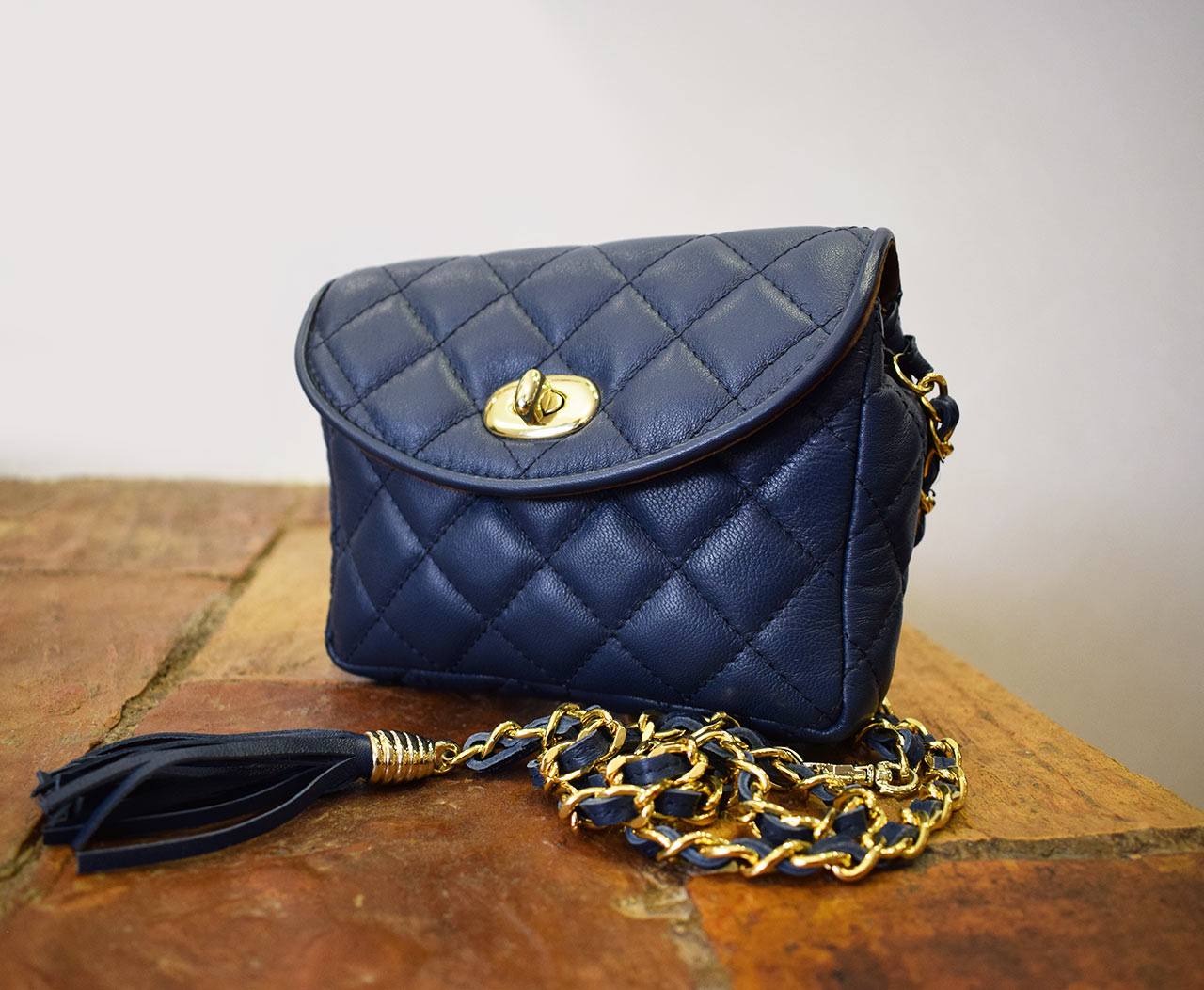 Leather Purse - Mini Venus - Blue Navy