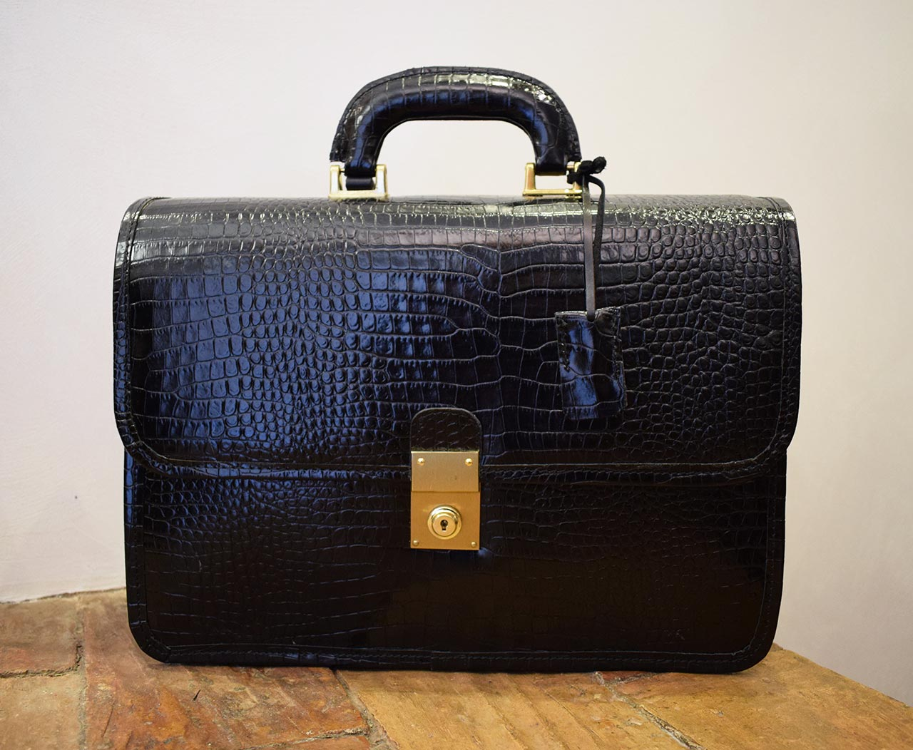 Leather Briefcase - Veritas - Crocodile effect leather