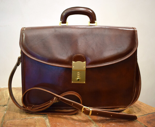 Virtus Leather Briefcase - Mancini Leather Rome