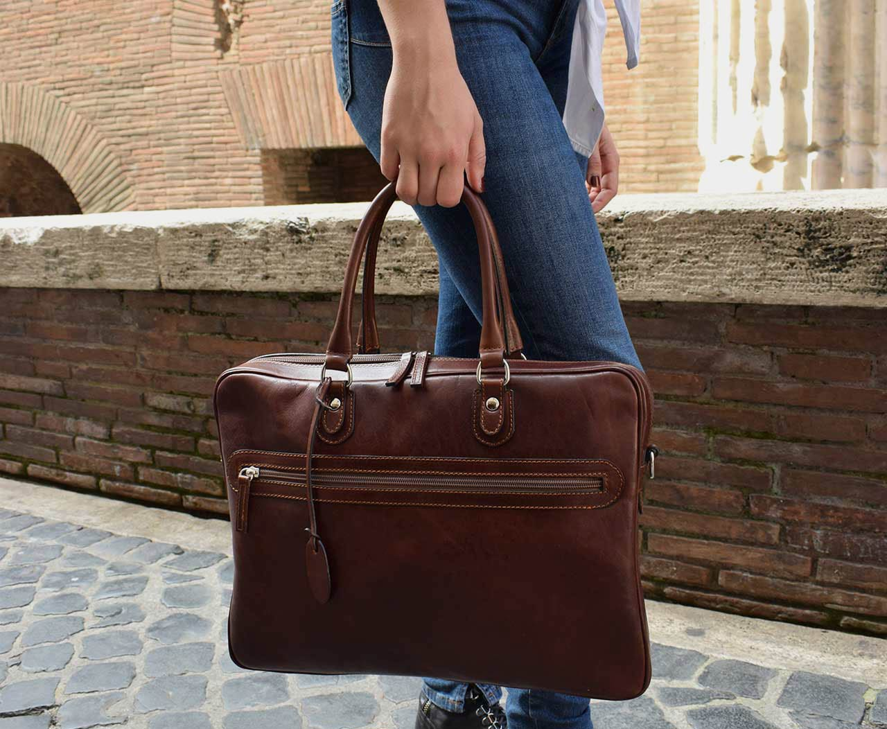 Italian leather handmade briefcase, Mancini Leather Since 1918