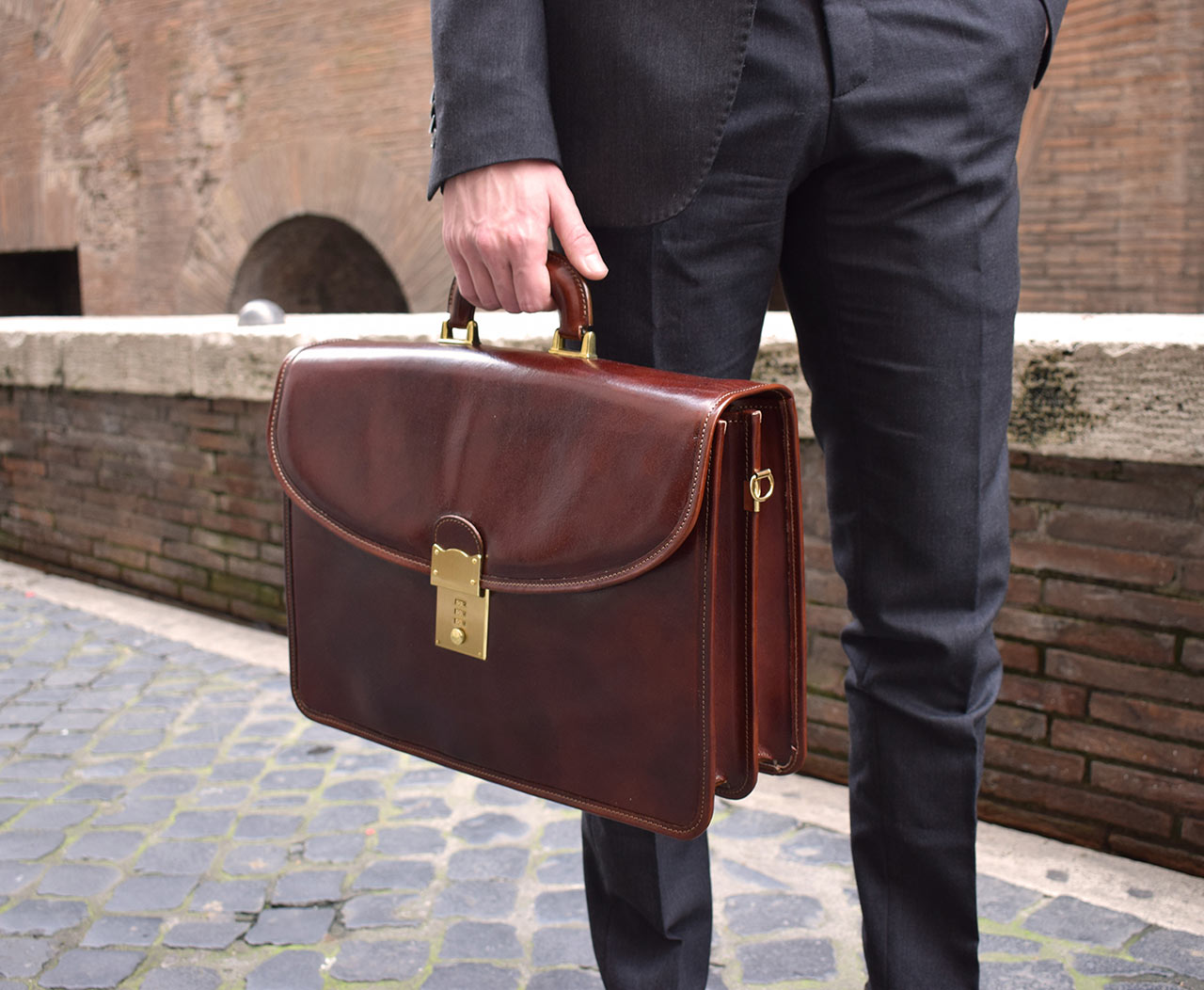 Italian leather handmade briefcase, Mancini Leather Since 1918