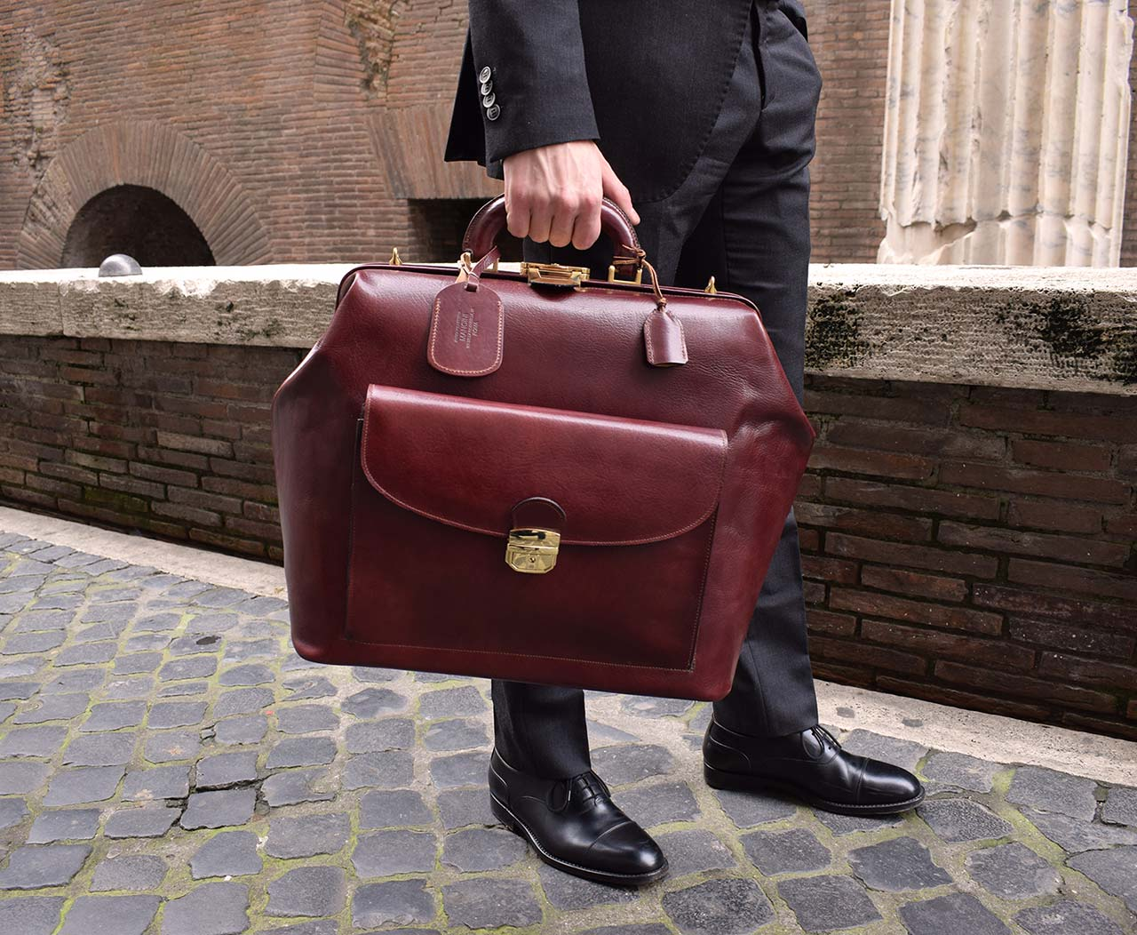 Italian leather handmade travel bag, Mancini Leather Since 1918