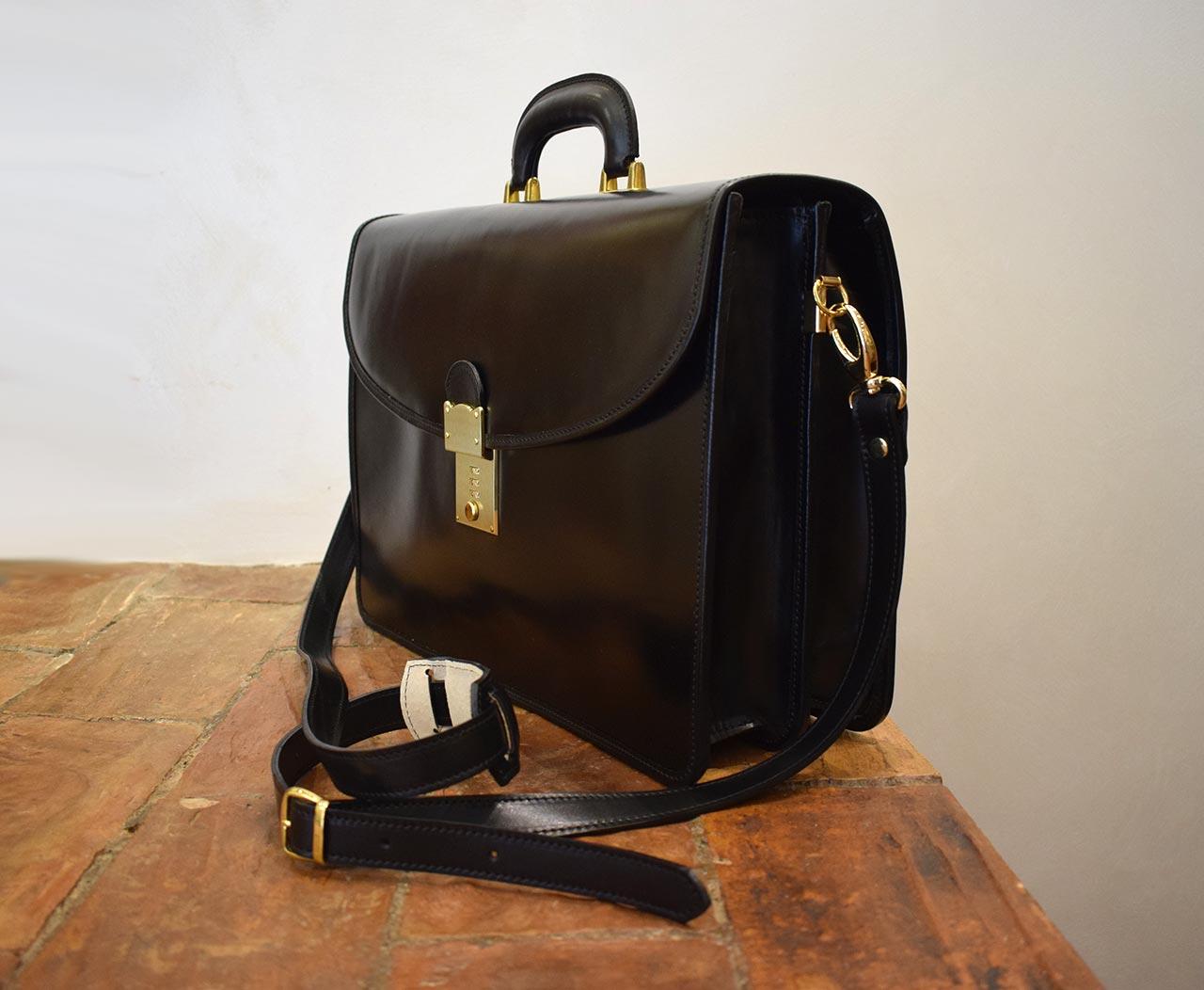 Virtus, Italian leather handmade briefcase by Mancini Leather Since 1918