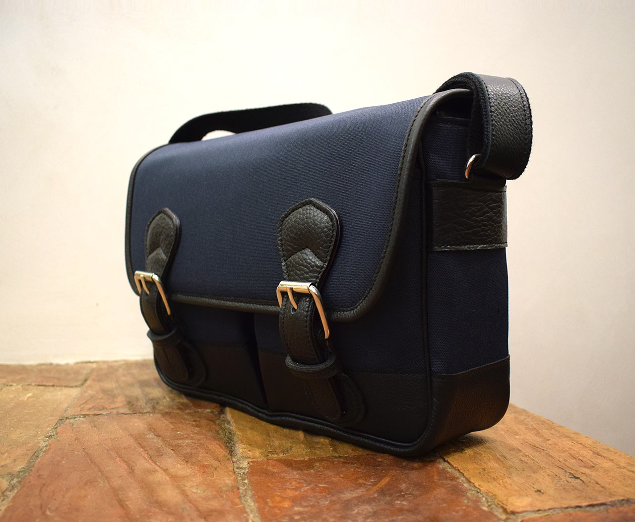 Fauna Junior, Italian handmade briefcase, waterproof canvas with leather trimmings - Mancini Leather Since 1918