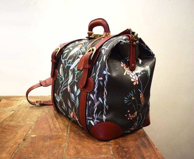 Felicitas, Italian handmade travel bag in chintz and burgundy leather - Mancini Leather Since 1918